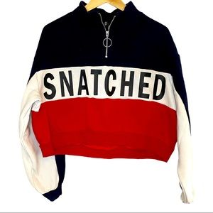 H&M oversized Snatched 1/4 zip crop pullover